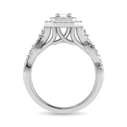 14K White Gold 1 Ct.Tw. Emerald Cut Diamond Engagement Ring