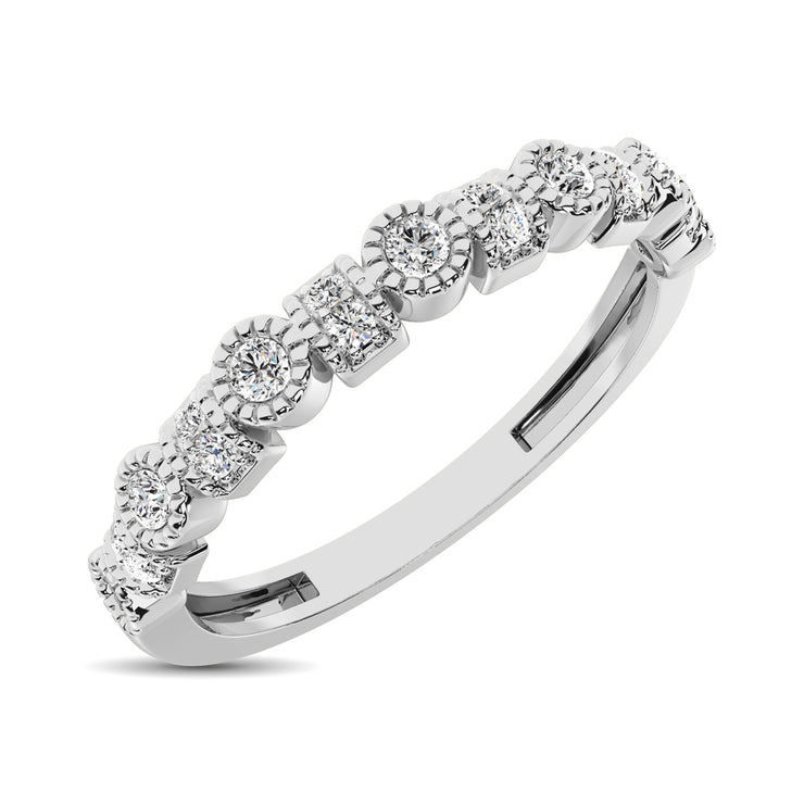 14K White Gold Vintage Round & Square 1/6 Ctw Diamond Band