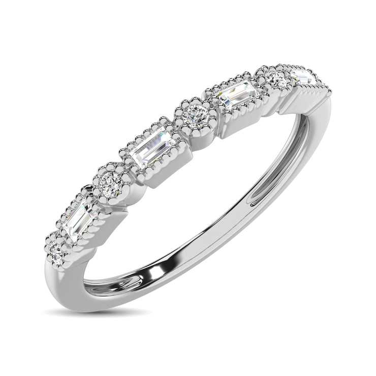 14K White Gold 1/10 Ctw Round and Tapper Diamond Band Ring