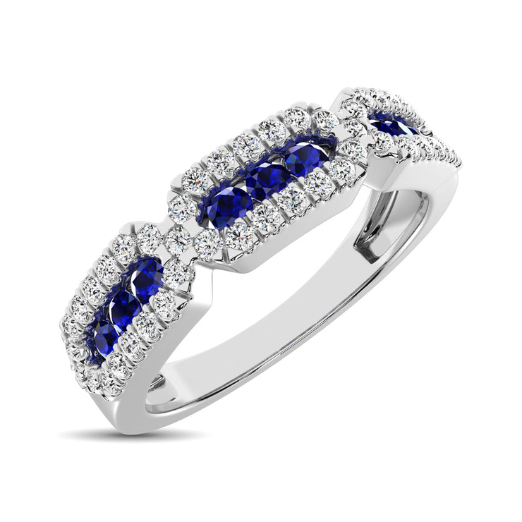 14K White Gold 5/8 Ct.Tw. Diamond & Blue Sapphire Stackable Band
