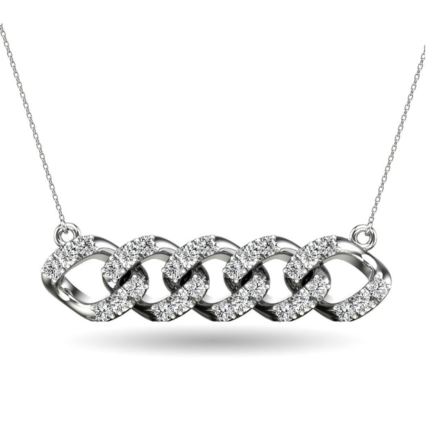 14K White Gold 1/4 Ct.Tw. Diamond Curb Chain Pattern Necklace
