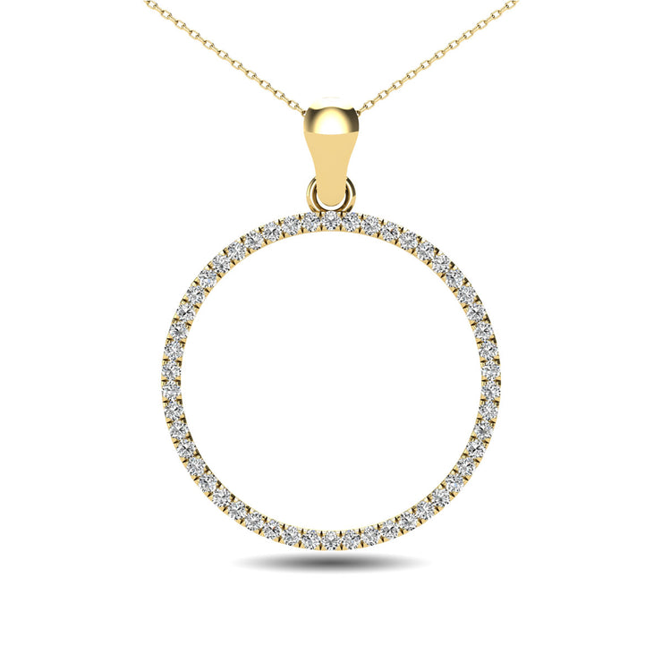 10K White Gold 1/6 Ct.Tw. Diamond Circle Pendant