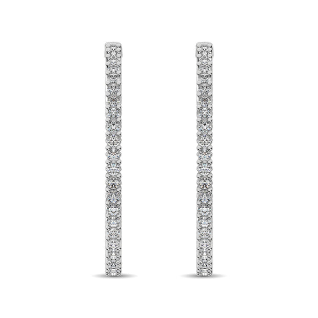 14K White Gold Diamond 2 2/5 Ct.Tw. In and Out Hoop Earrings