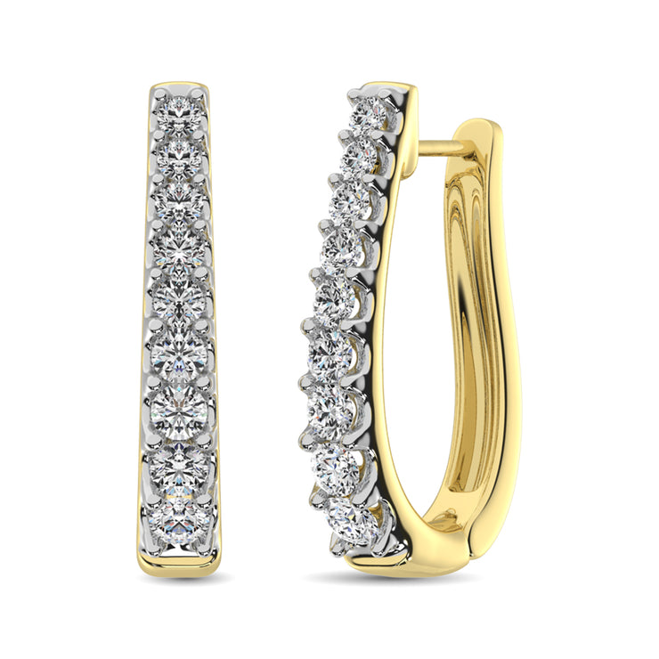 10K White Gold Diamond 1 Ct.Tw. Classic Hoop Earrings