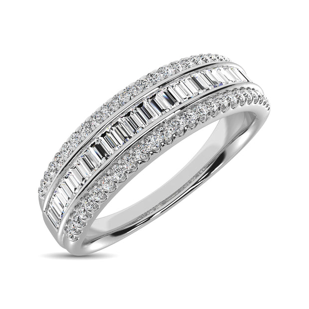 14K White Gold Round and Baguette Diamond 2/5 Ct.Tw. Anniversary Band