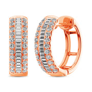 14K Rose Gold Round and Baguette Diamond 1/2 Ct.Tw. Hoop Earrings