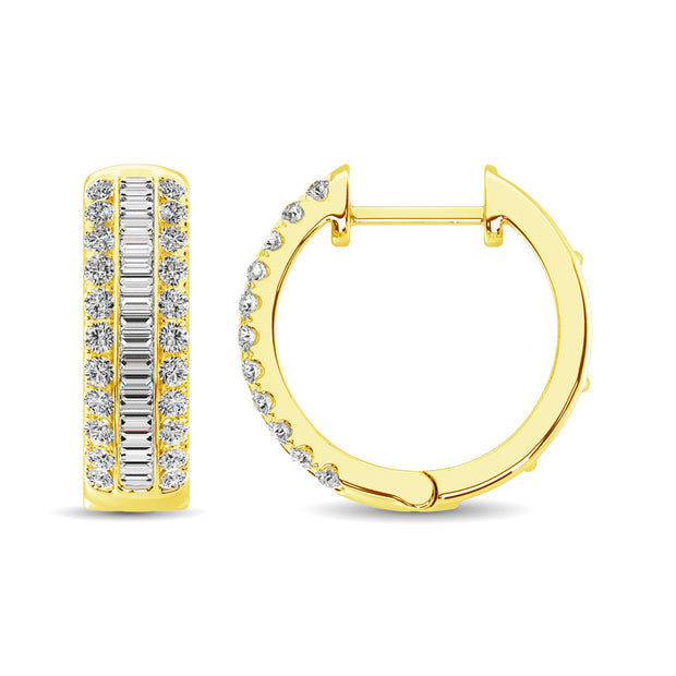 14K Yellow Gold Round and Baguette Diamond 1/2 Ct.Tw. Hoop Earrings