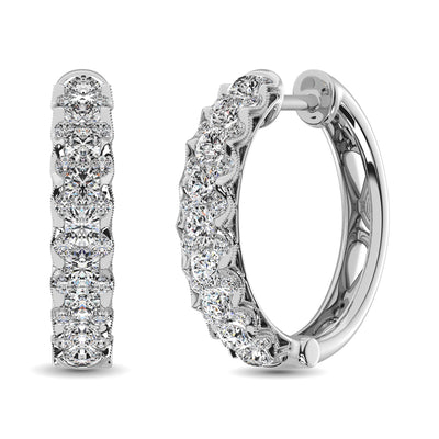 10K White Gold Diamond 1 Ct.Tw. Hoop Earrings
