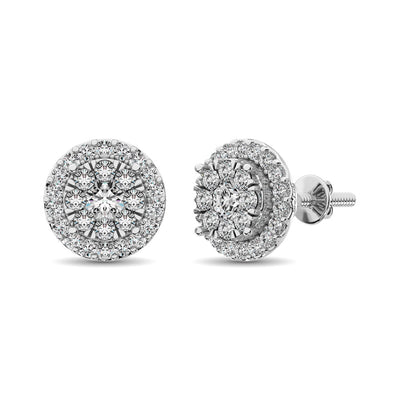 Diamond Stud earrings 3/4 ct tw in 14K White Gold
