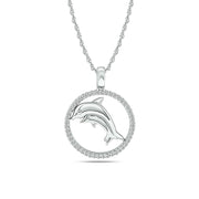 Diamond Sea Of life Dolphine Pendant 1/8 ct tw in Sterling Silver