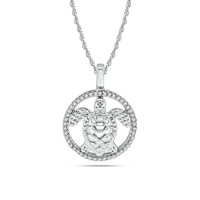Diamond Sea Of life Turtle Pendant 1/8 ct tw in Sterling Silver