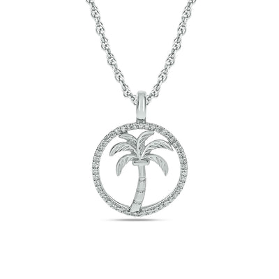 Diamond Sea Of life Palm Tree Pendant 1/8 ct tw in Sterling Silver