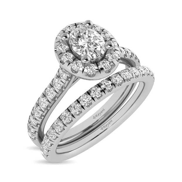 14KT WG 1ctw Diamond Keyani Cushion Shape Halo Engagement Ring