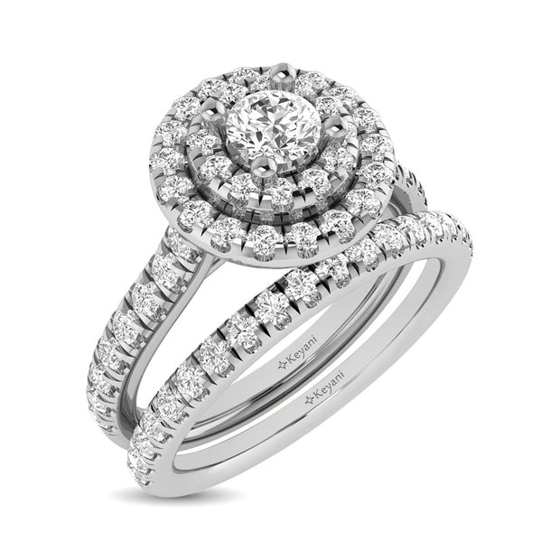 14KT White Gold 1.00ctw Diamond Round Double Halo Engagement Ring