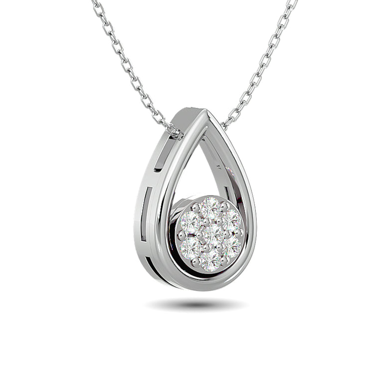 Diamond Tear Shape Pendant 1/10 ct tw Round Cut in 10K White Gold