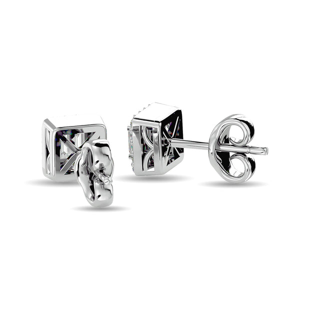 Diamond Round and Straight Buggete 1/4 ct tw Fashion Earrings in 10K White Gold