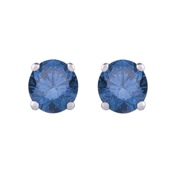 14K White Gold Blue Diamond Stud Earrings