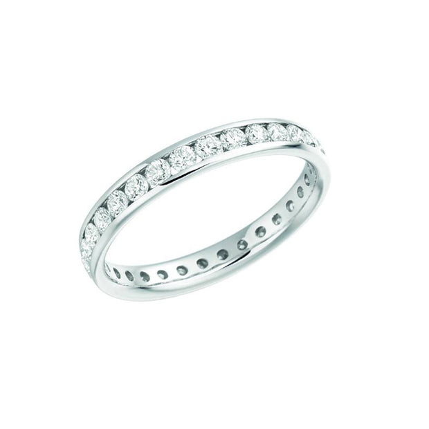 14-K-White-Gold-1.00-ctw-Round-Full-Eternity-Channel-Set-Diamond-Wedding-Band-Fame-Diamonds