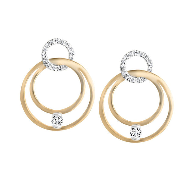 CR-E09605 - 10 K Gold and 0.22 Ctw  Diamond Earring