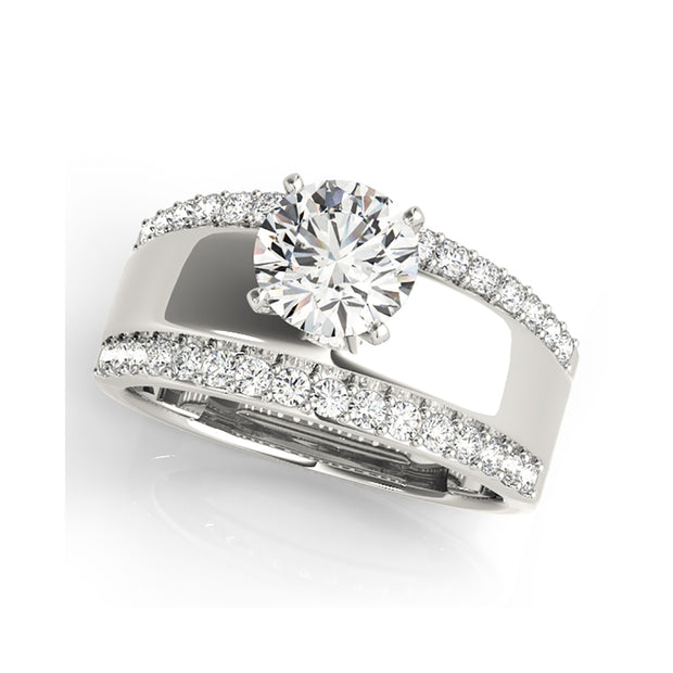 Bold Classic Design Solitaire Diamond Engagement Ring