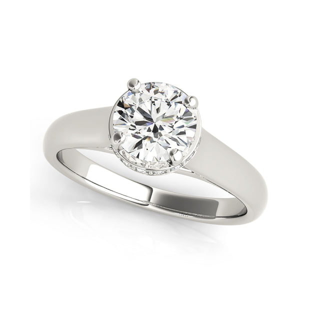 White Gold Solitaire Round Brilliant Cut Diamond Engagement Ring