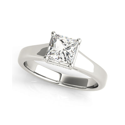 Tapered Shank Solitaire Princess Cut Diamond Engagement Ring