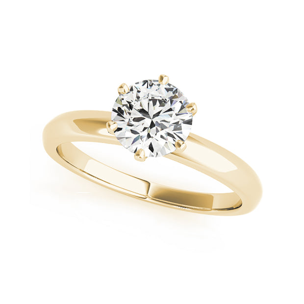 Six Prong Solitaire Round Brillaint Cut Diamond Engageemnt Ring