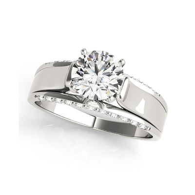 Round Solitaire Wide Shank Diamond Inlay Engagement Ring