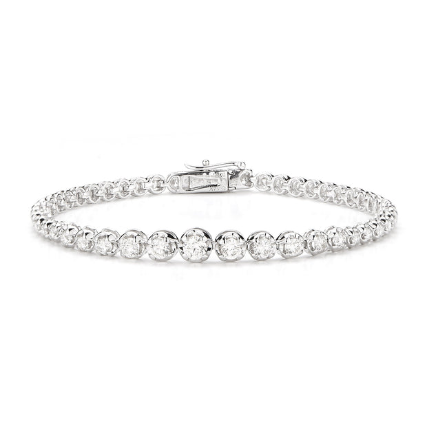 Graduated Solitaire Bracelet Made In 14K White Gold