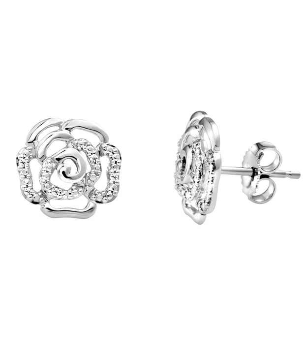 10k White Gold Rose Diamond Stud Earrings
