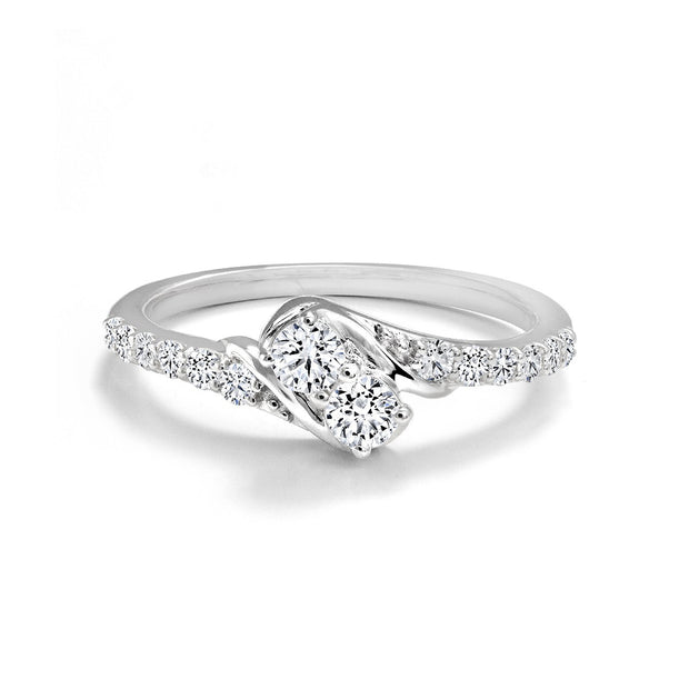 CR-R4413-24W- 14 K Gold and 0.5 Ctw Engagement Diamond Ring
