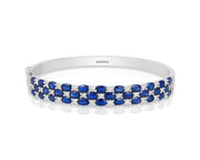 Effy 14K White Gold Diamond,Natural Sapphire Bangle