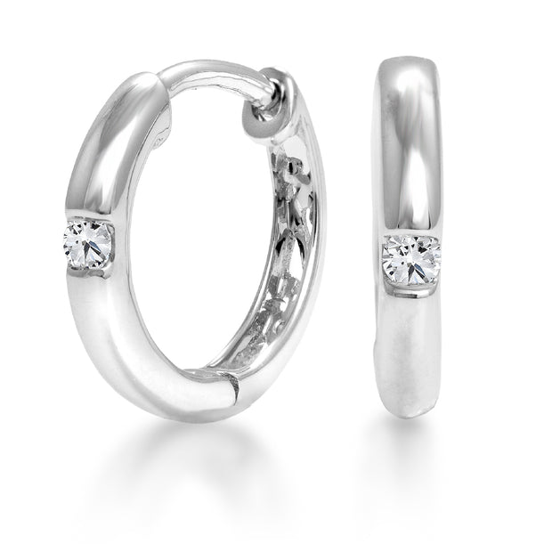 CR-E3529- 10 K Gold and 0.08 Ctw Hoops Diamond Earring