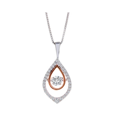CR-P0228 - 10K White and Rose Gold Canadian Diamond Pendant