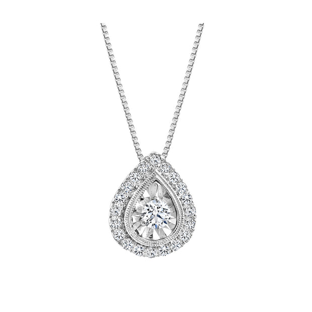 CR-P3292- 10K / 14K White Gold Canadian Diamond Pendant