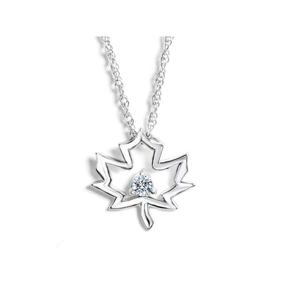 CR-PD288 - Sterling Silver Canadian Diamond Pendant