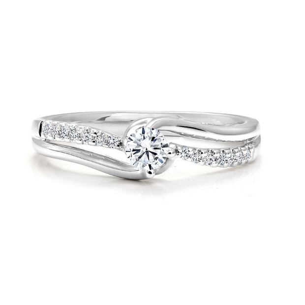 CR-R27587 - 14K White Gold Canadian Diamond Engagement Ring
