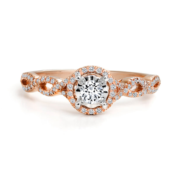 CR-R9844 - 10K Rose Gold Canadian Diamond Engagement Ring