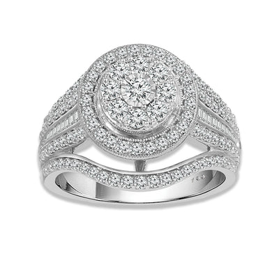 1.00 Ctw Double Halo Round Diamond Fancy Cocktail Ring