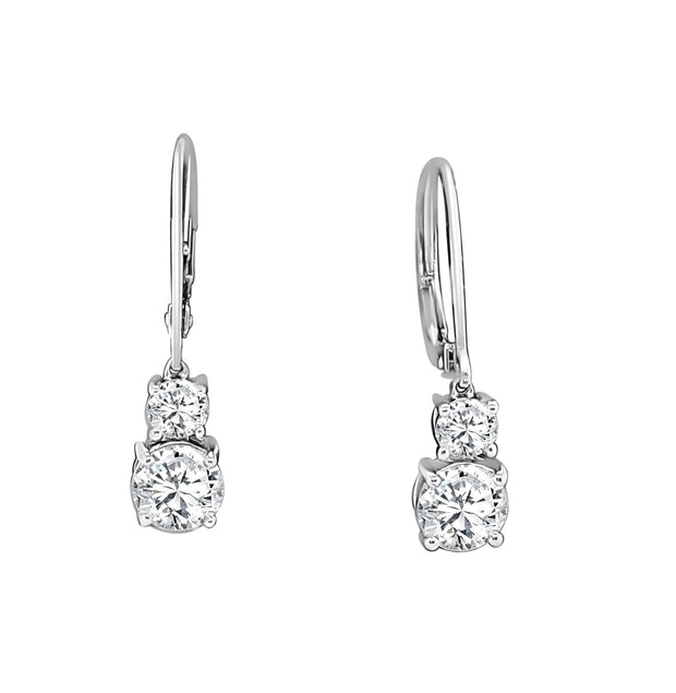Dangling Earrings Made In 14K White Gold