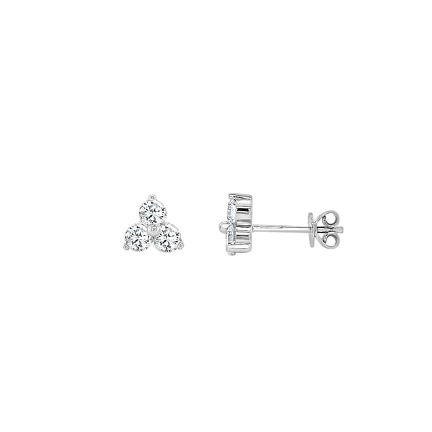 Three Stone Fancy Stud Earrings Made in 14K White gold