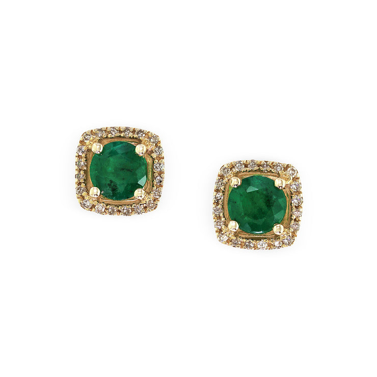 Effy 14K Yellow Gold Diamond,Natural Emerald Earrings