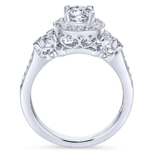 ER4156W44JJ- 14k White Gold 0.27 Diamond Halo and Filgree Setting Engagement Ring