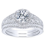 ER6552W44JJ- 14k White Gold 0.48 Diamond Halo and Filgree Setting Engagement Ring