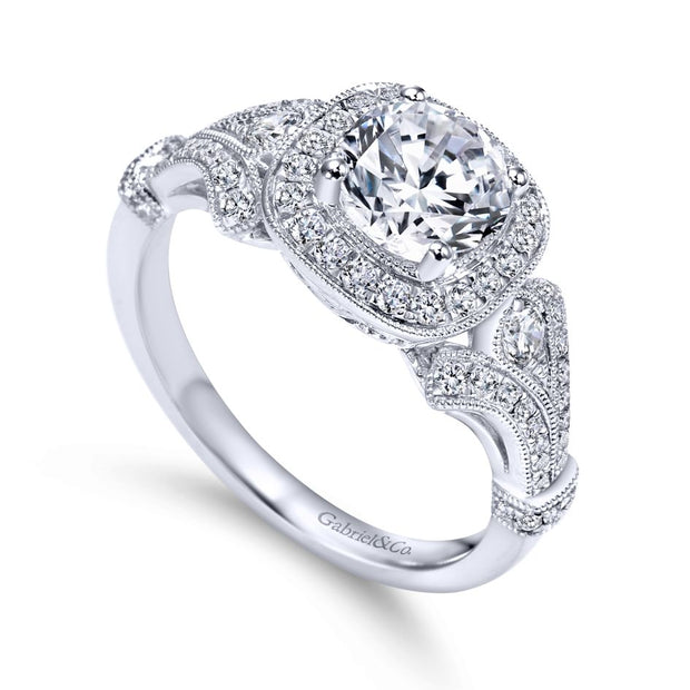 14K-White-Gold-0.42-Ctw-Diamond-Gabriel-&-Co.-Cushion-Shape-Halo-and-Filigree-Engagement-Ring-Fame-Diamonds