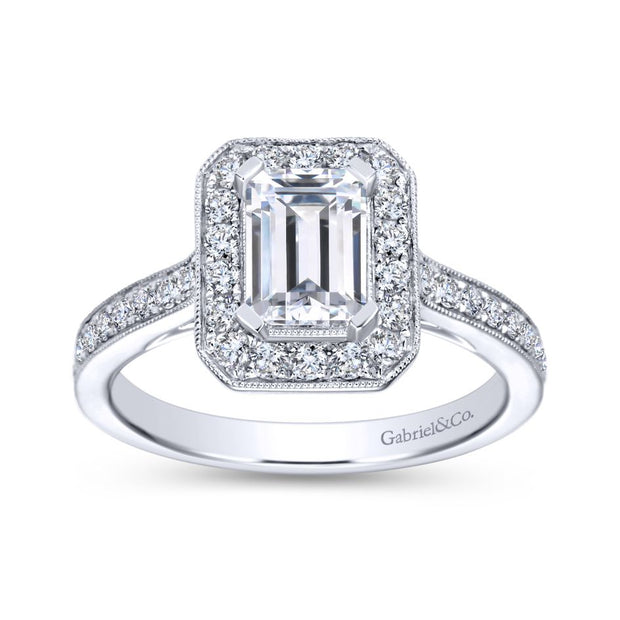 ER7528W44JJ- 14k White Gold 0.52 Diamond Halo and Filgree Setting Engagement Ring
