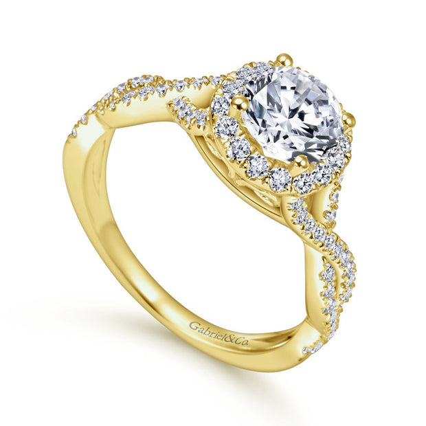 ER7543Y44JJ- 14k Yellow Gold 0.42 Diamond Halo and Filgree Setting Engagement Ring