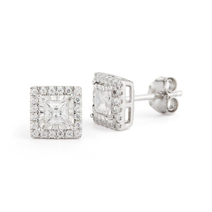 Halo Princess Studs Made In 14K White Gold