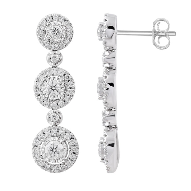 Fashion Drop Earrings Made In 14K White Gold