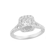 14K White Gold Halo Split Shank Engagement Diamond Ring | Fame Diamonds